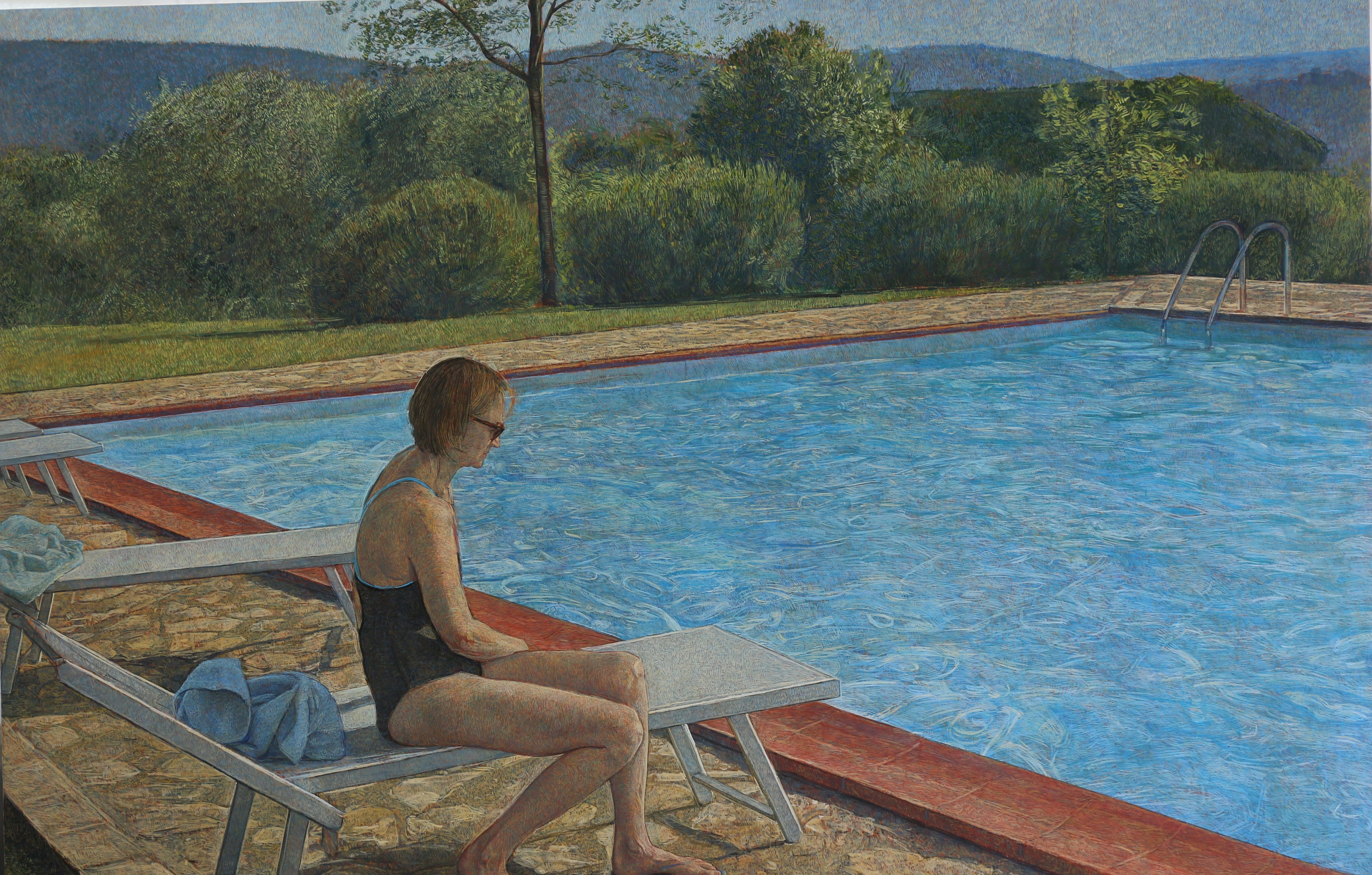 Antony_Williams_swimming-pool-with-figure, 42.5 x 57 inches