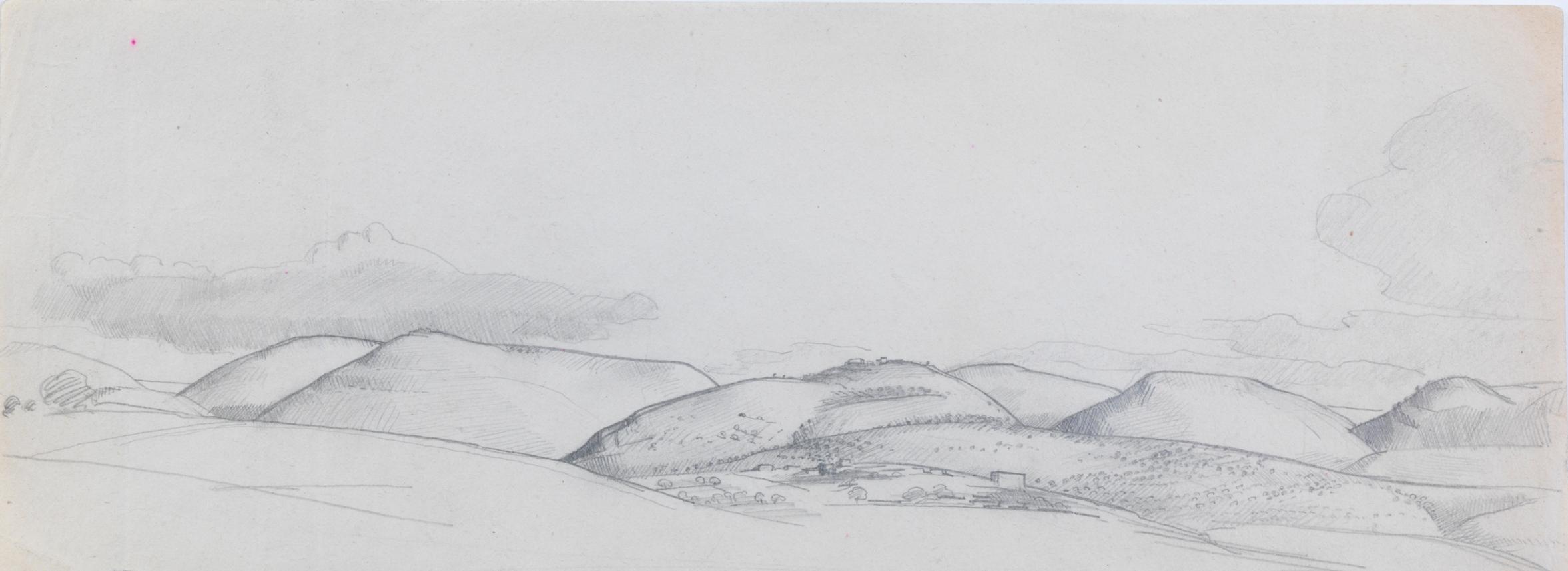 Henry_Lamb_Sketch-of-hills-Z10, 10.2 x 26.8 cm,