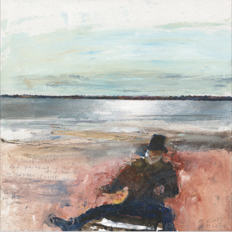Kurt_Jackson_M70ST70_Scarf_and_hat_Dad_painting_in_the_cold_winds_on_Stutton_Point_2016_Mixed_media_on_wood_panel