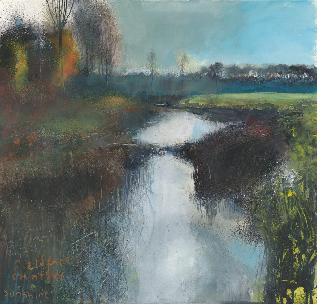Kurt_Jackson_ST4_The_Stour_downstream_from_Nayland_fieldfare_chatter_Cold_sunshine_December_2016_Mixed_media_on_paper_57x60cm