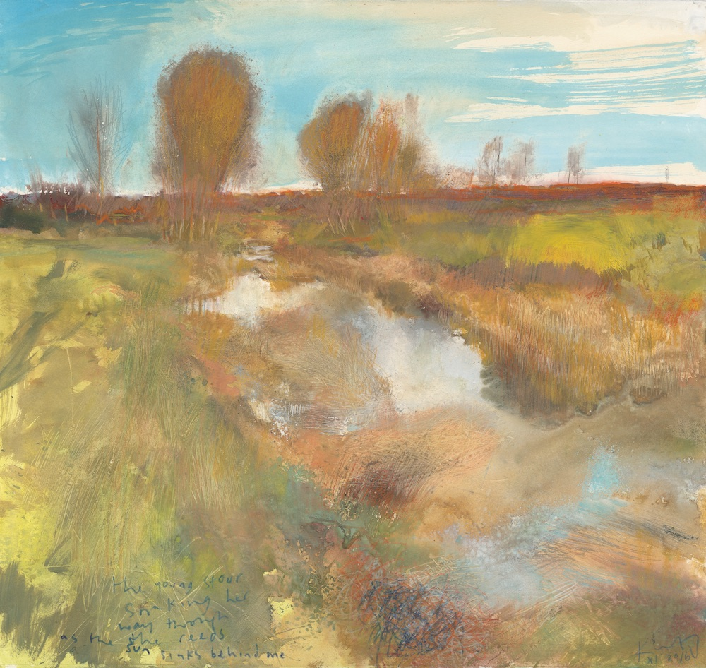 Kurt_Jackson_M51ST51_The_young_Stour_snaking_her_way_through_the_reeds_as_the_sun_sinks_behind_me_2016_Mixed_media_on_paper_57x61cm
